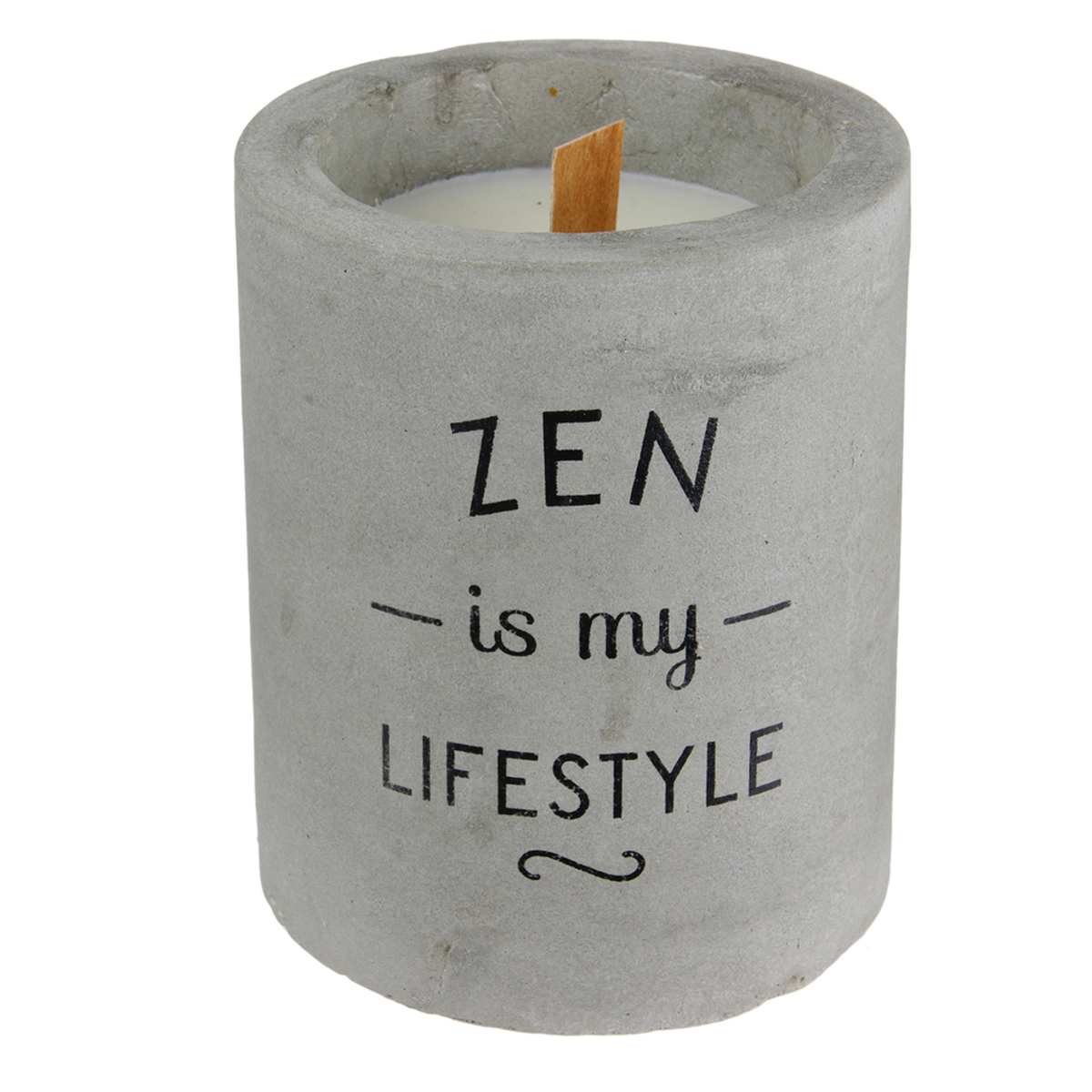 Bougie parfumée \'Ciment\' (Zen is my lifestyle) - 10x8 cm (linge frais) - [A1214]
