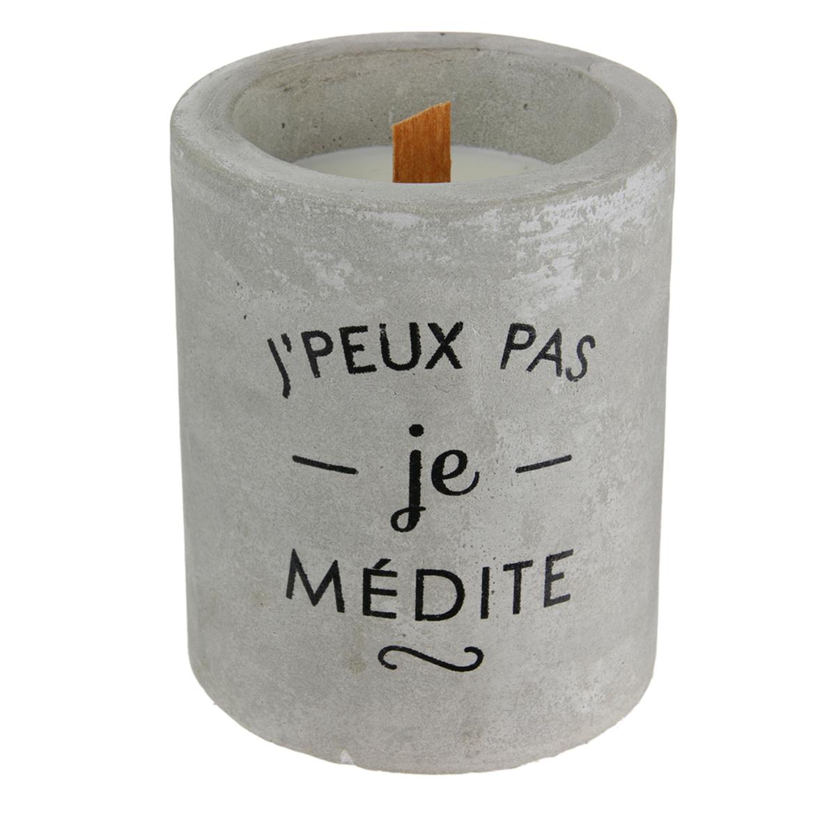 Bougie parfumée \'Ciment\' (J\'peux pas, je médite) - 10x8 cm (cachemire) - [A1216]
