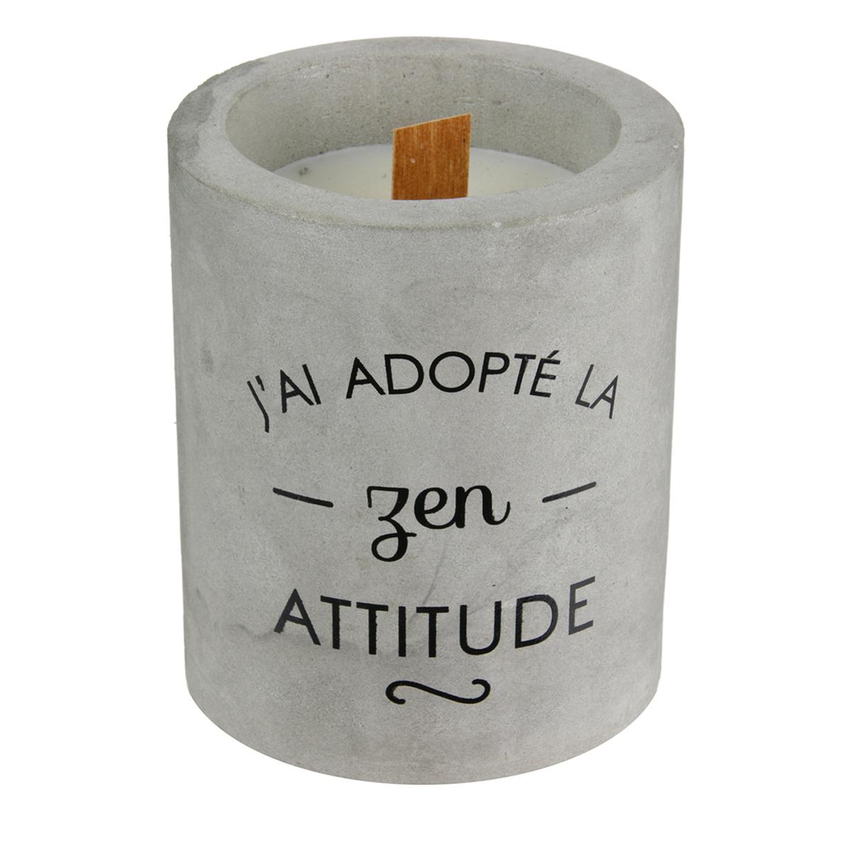 Bougie parfumée \'Ciment\' (J\'ai adopté la zen attitude) - 10x8 cm (cachemire) - [A1217]