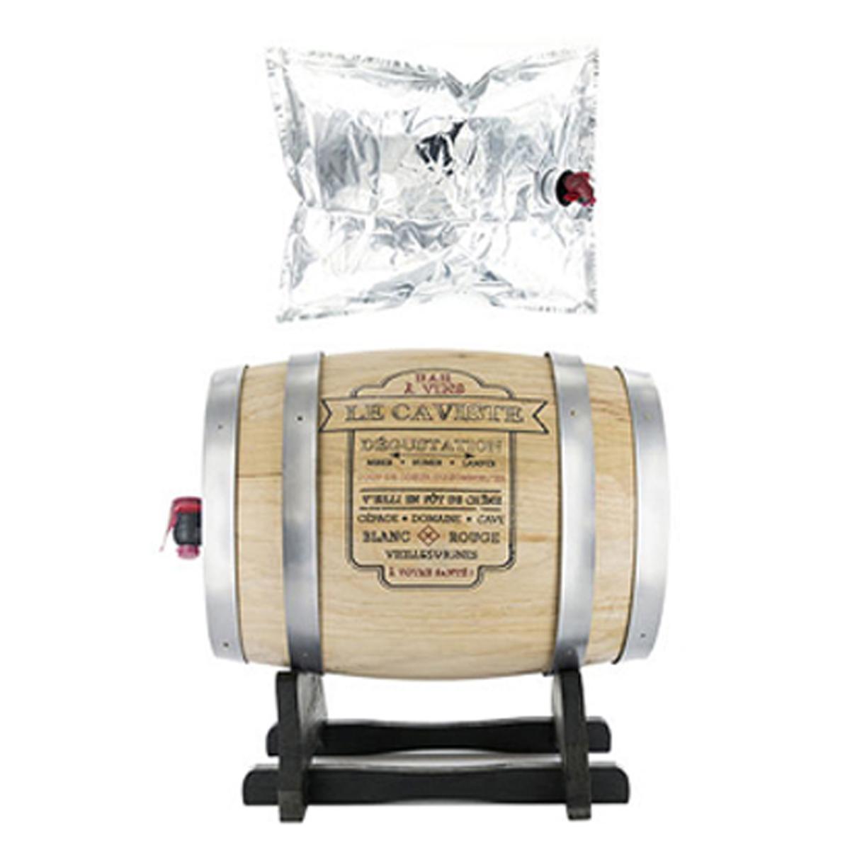 Distributeur de vin \'Tonneau\' argenté beige (le Caviste) - 28x28x22 cm (5 L) - [A1237]