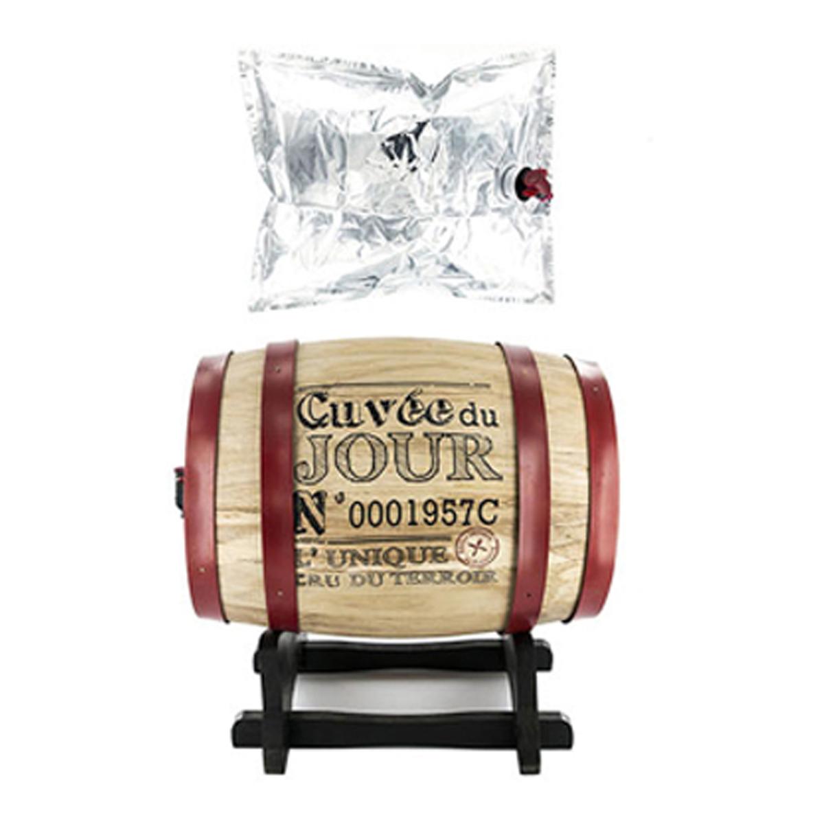 Distributeur de vin \'Tonneau\' rouge beige (Cuvée du Jour) - 28x28x22 cm (5 L) - [A1238]