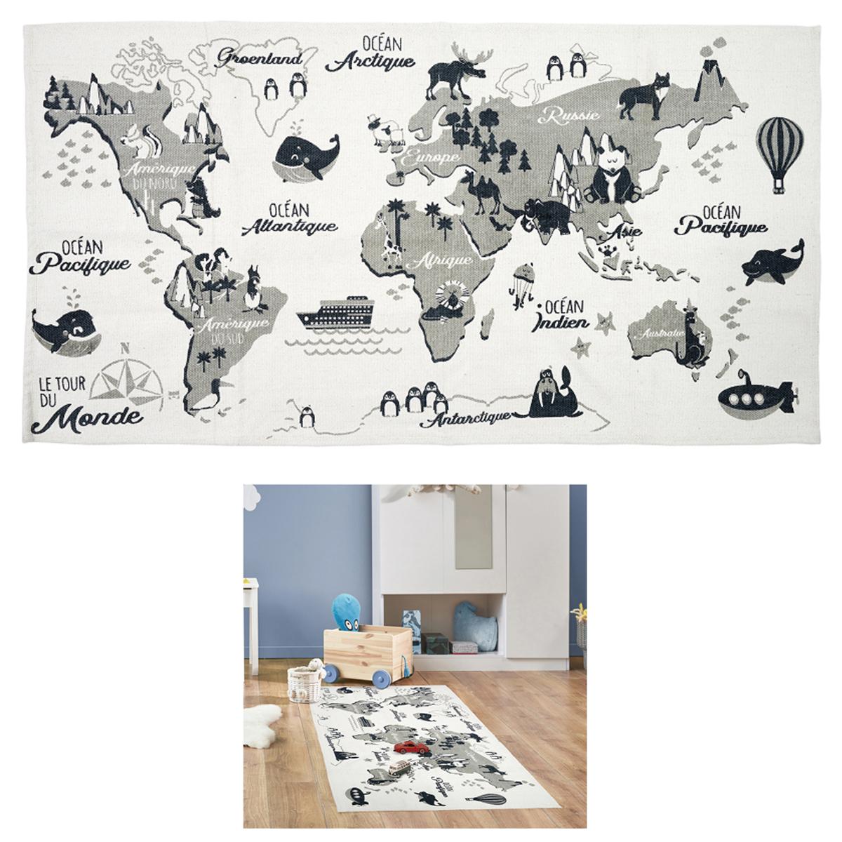Tapis coton \'Mappemonde\' gris blanc - 140x70 cm - [A1253]