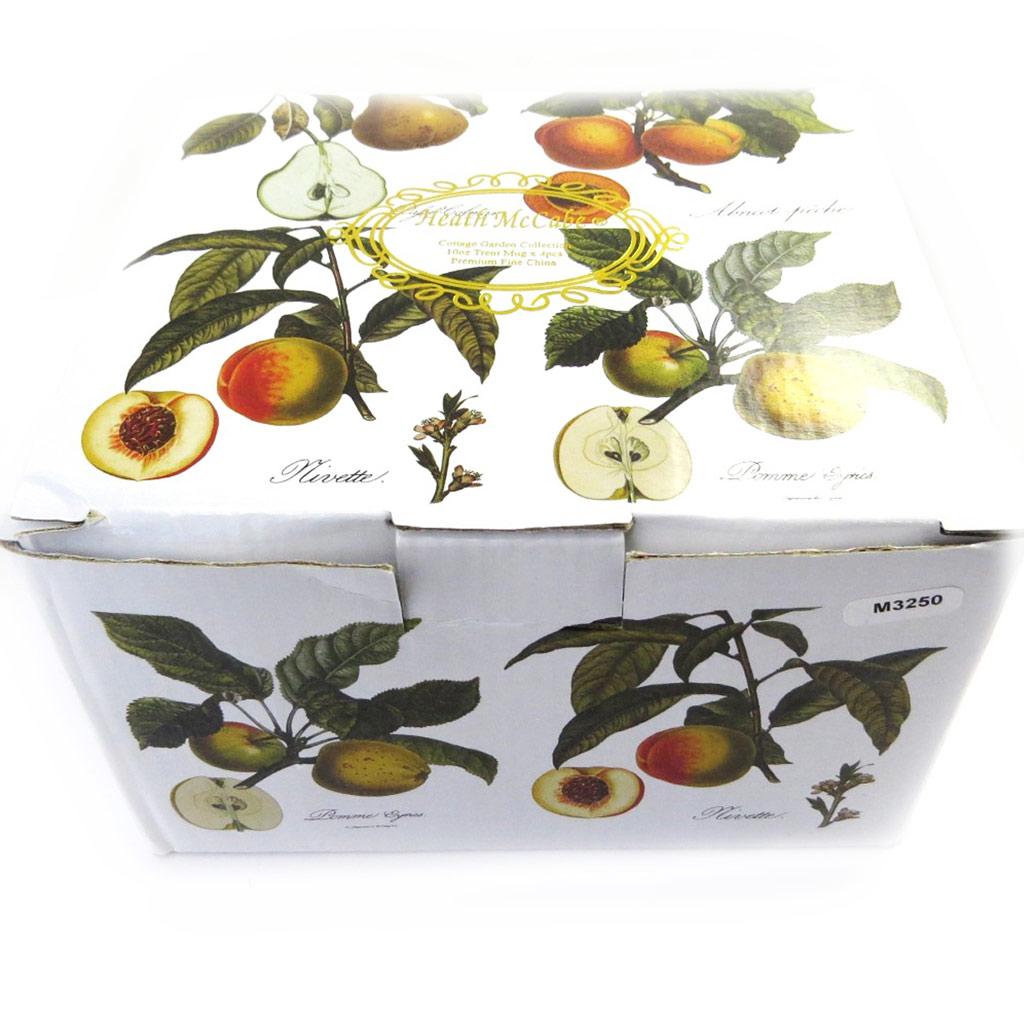 Set de 4 mugs \'Fruits de Saison\' orange vert - [M3250]