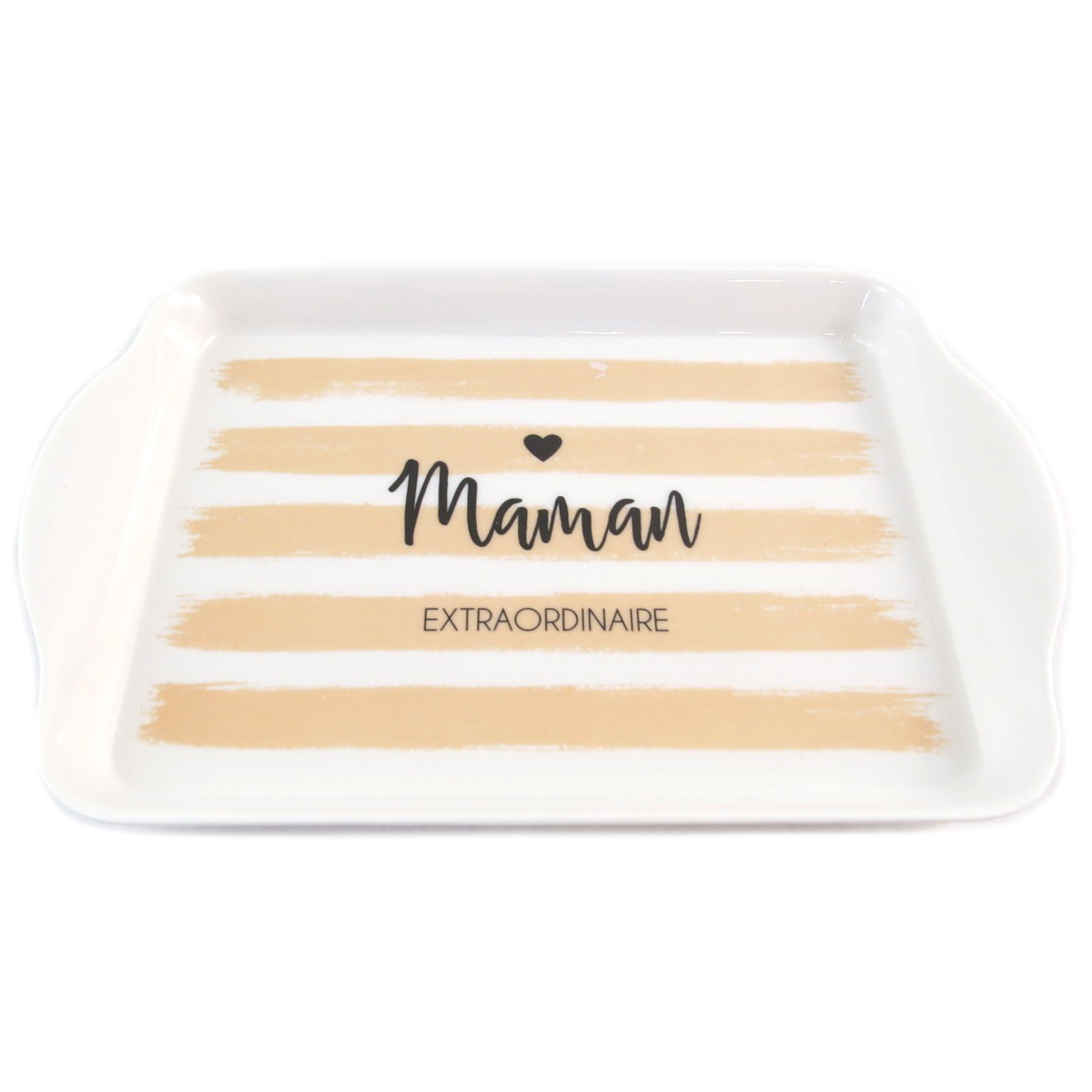 Petit Plateau \'Maman Extraordinaire\' blanc beige - 21x14 cm - [Q0331]