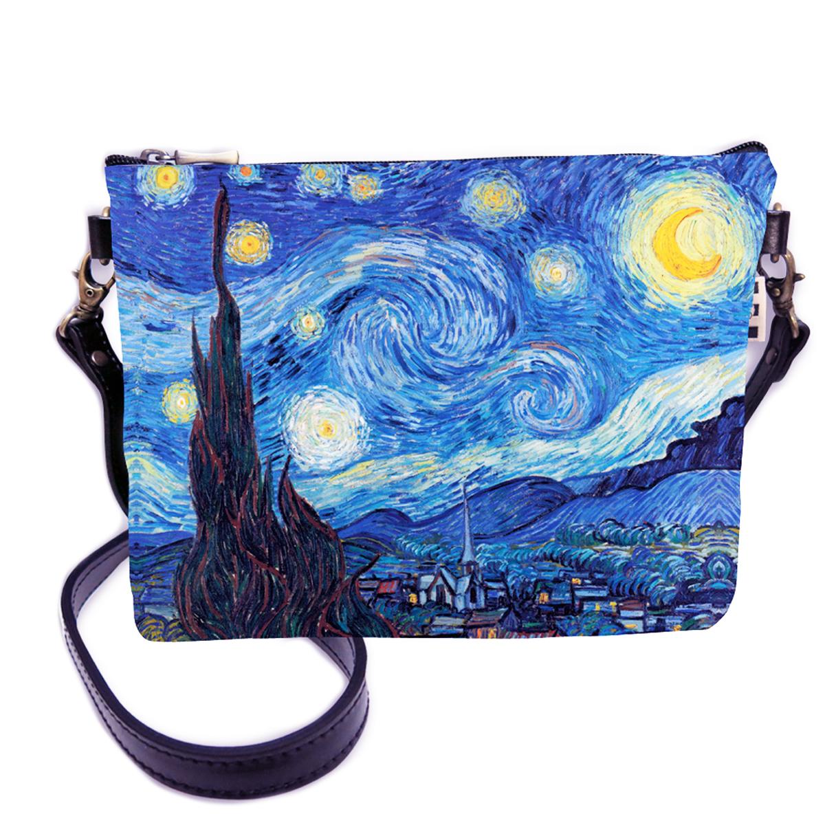 Sac bandoulière artisanal \'Vincent Van Gogh\' (Nuit Etoilée)  - 24x18 cm - [Q6666]