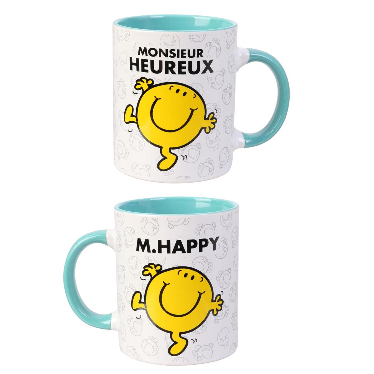 Mug céramique \'Monsieur Madame\' vert (M Heureux - M Happy) - 95x80 mm - [Q8994]