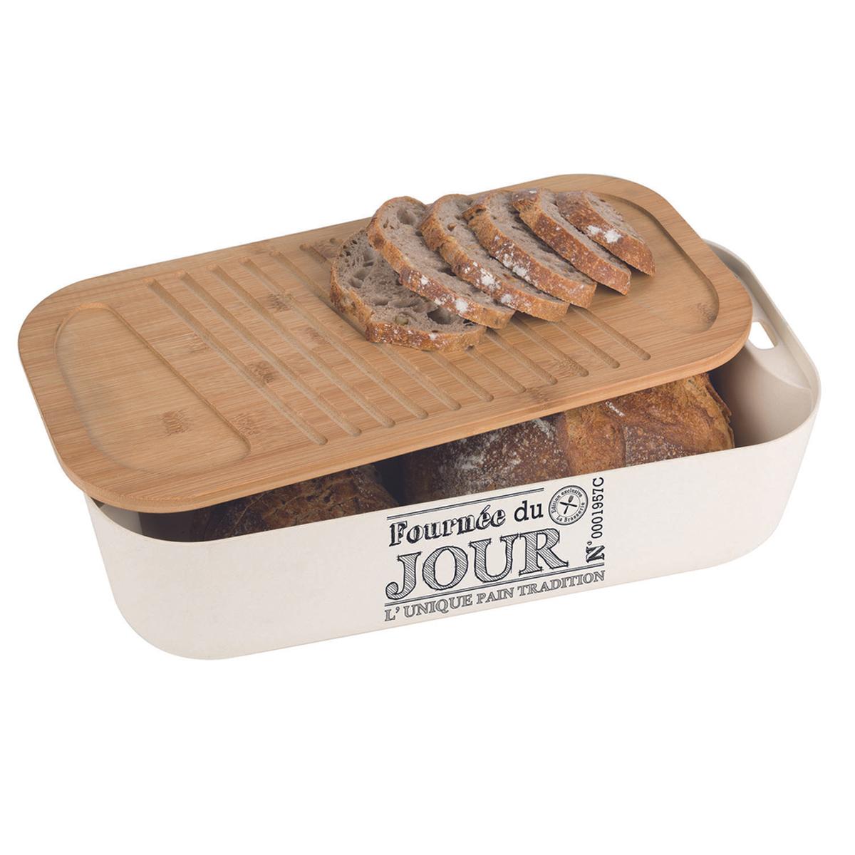 Boite à pain bambou \'Terroir Français\' beige - 395x20x11 cm - [Q9315]