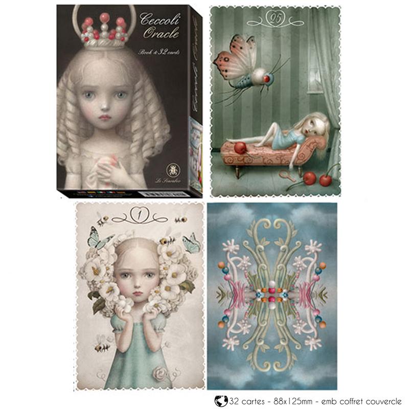 Jeu de cartes d\'inspiration \'Ceccoli Oracle\' noir (oracles) - 135x10x3 cm - [A1272]