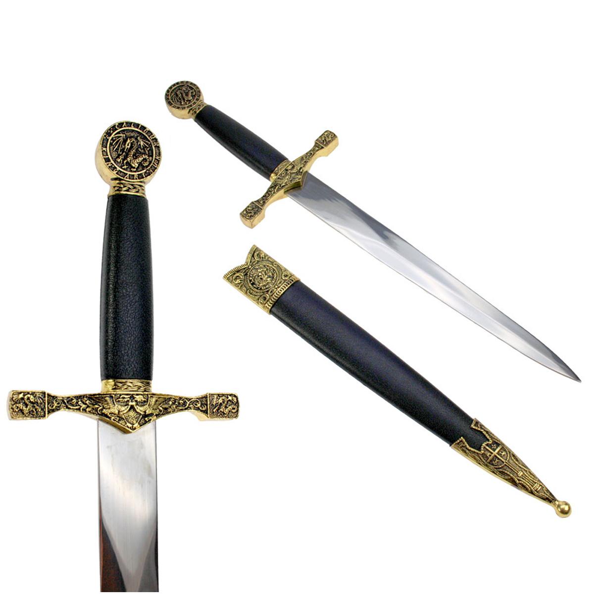 Dague \'Moyen Age\' noir doré - 39 cm - [A1343]