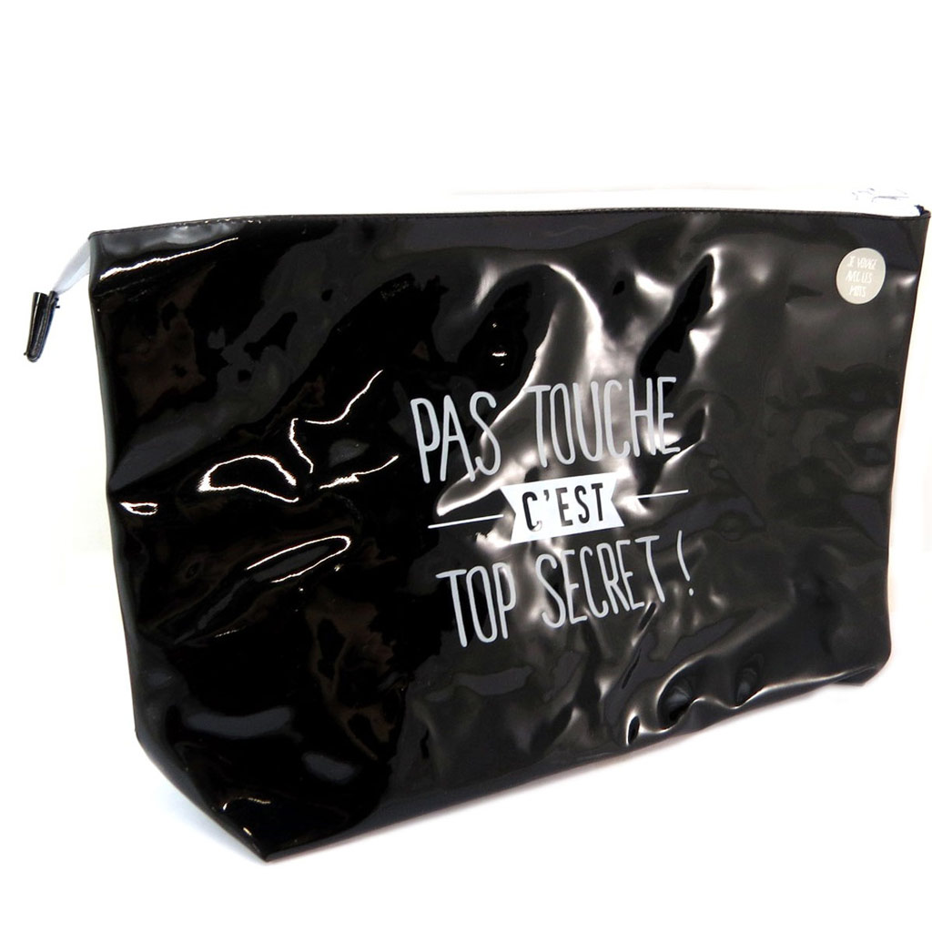 Trousse de toilette \'Messages\' (\'pas touche c\'est top secret !\') noir - 35x22x10 cm - [P6202]
