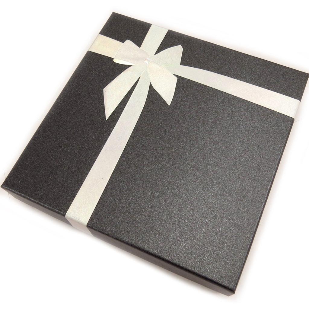Ecrin Collier \'Cadeau\' noir argenté  - [L1090]