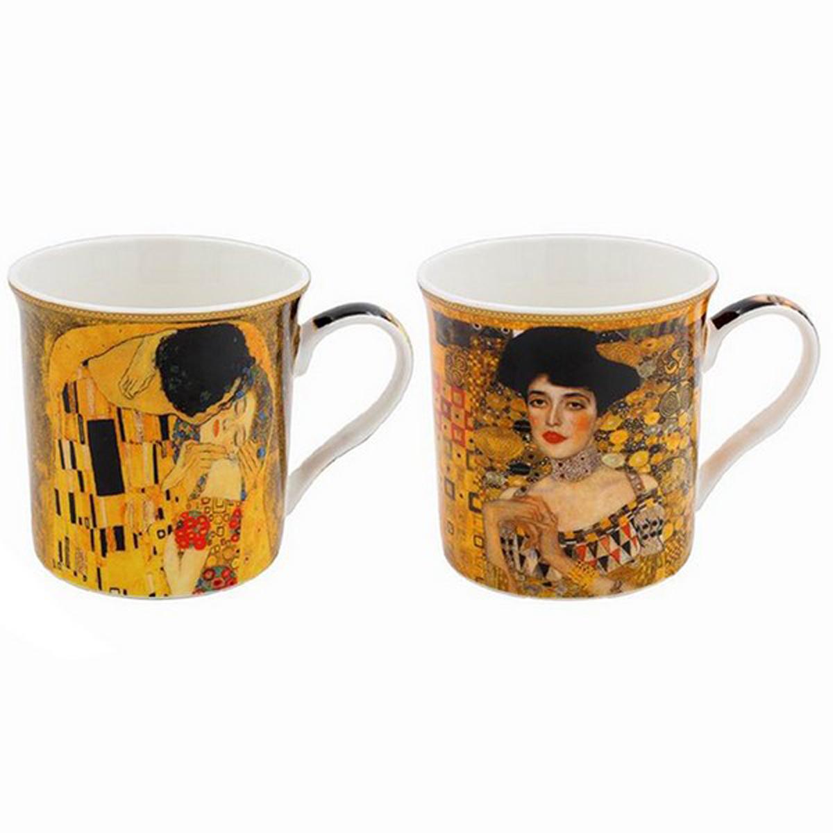 Coffret cadeau porcelaine \'Gustav Klimt\' (2 mugs) - 85x85 mm - [A0198]