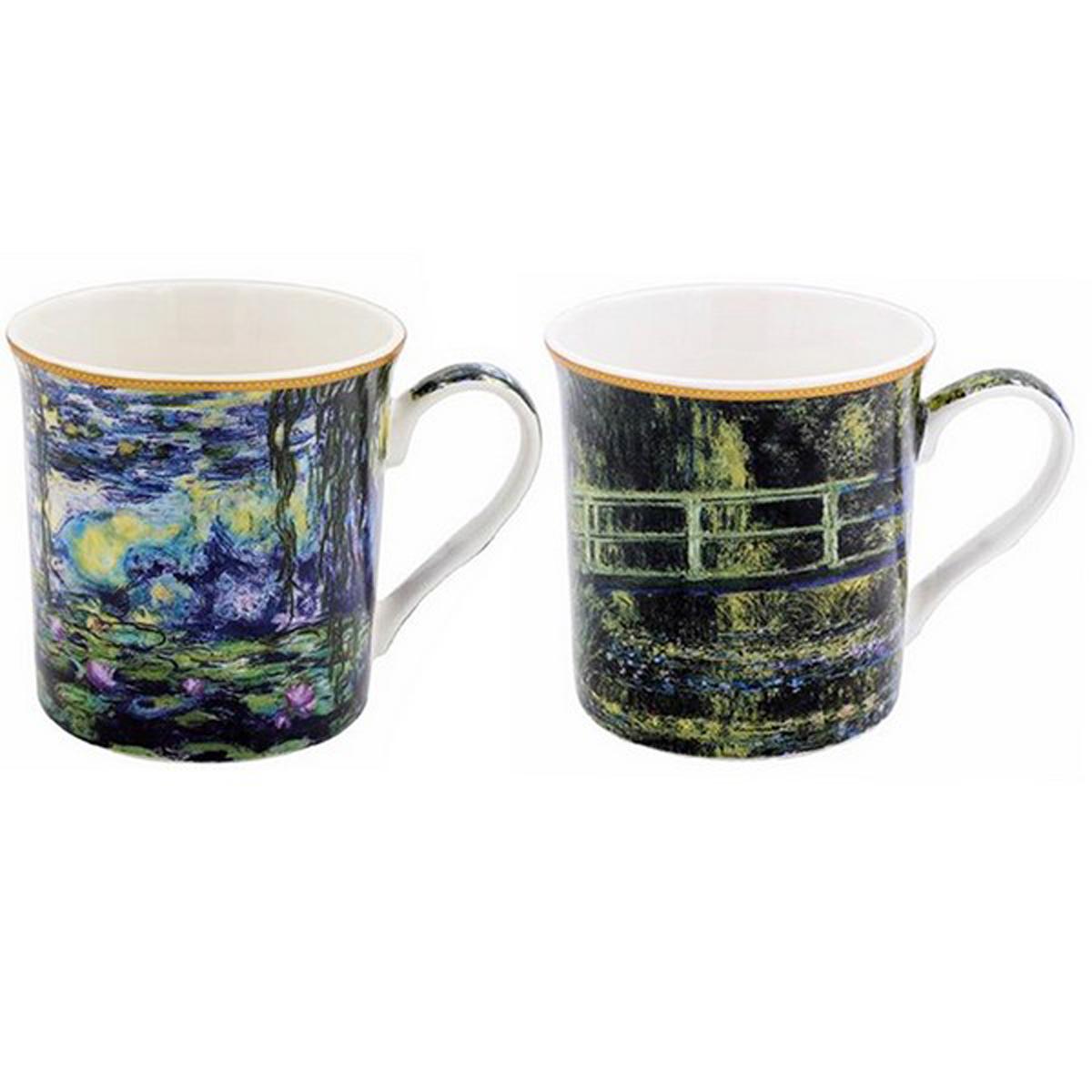 Coffret cadeau porcelaine \'Claude Monet\' (2 mugs) - 85x85 mm - [A0199]