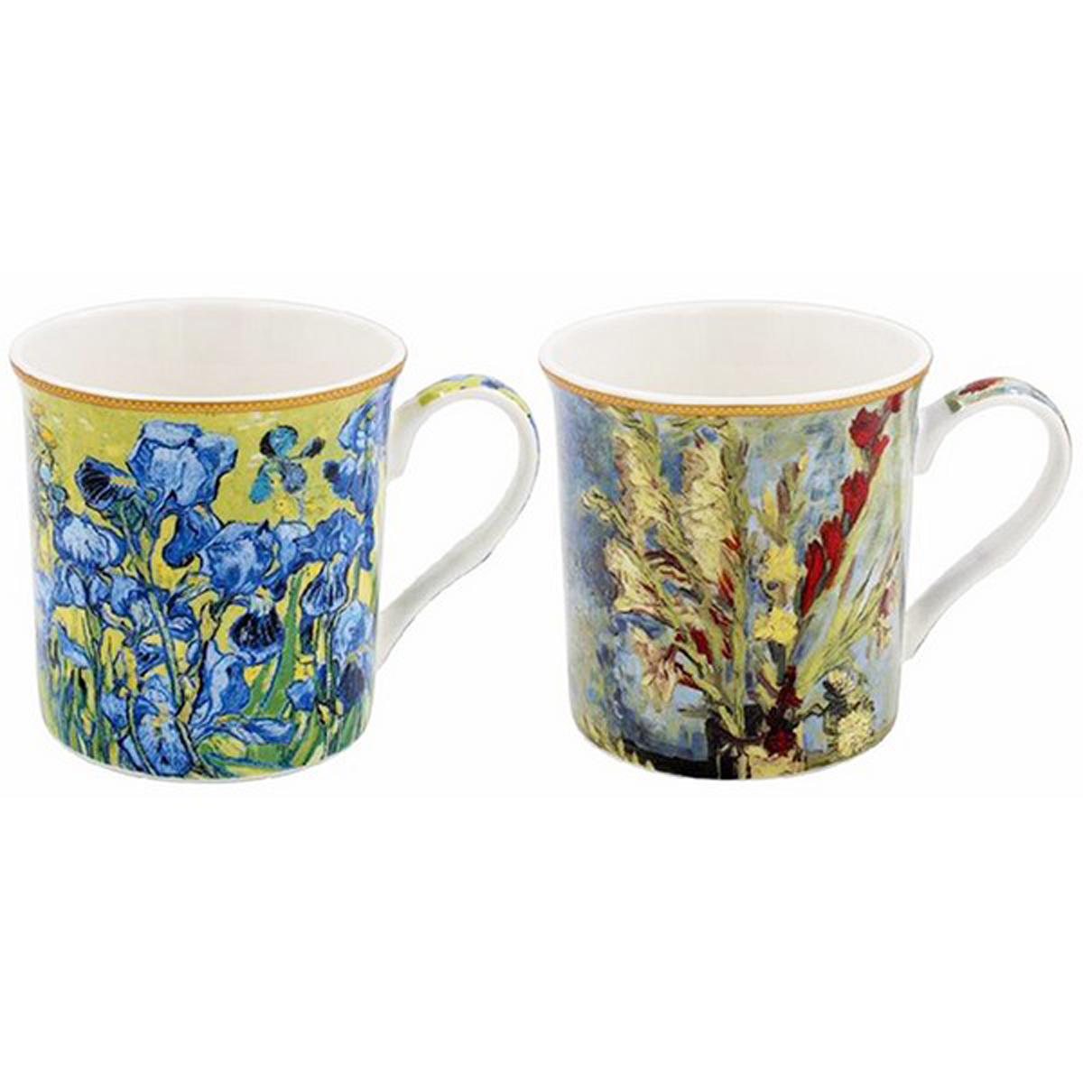 Coffret cadeau porcelaine \'Vincent Van Gogh\' (2 mugs) - 85x85 mm (iris) - [A0200]