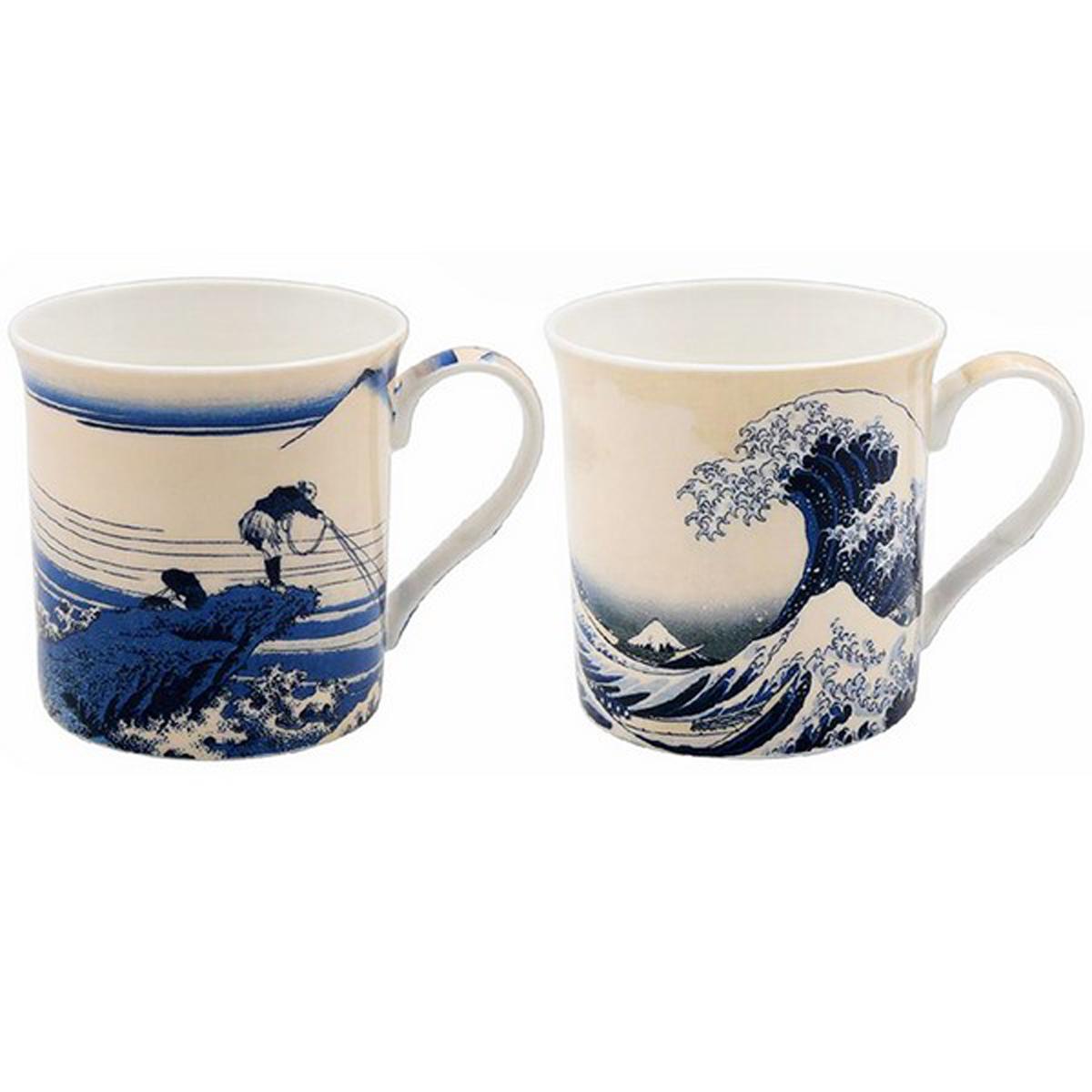 Coffret cadeau porcelaine \'Hokusai\' (2 mugs) - 85x85 mm (La Grande Vague de Kanagawa) - [A0201]