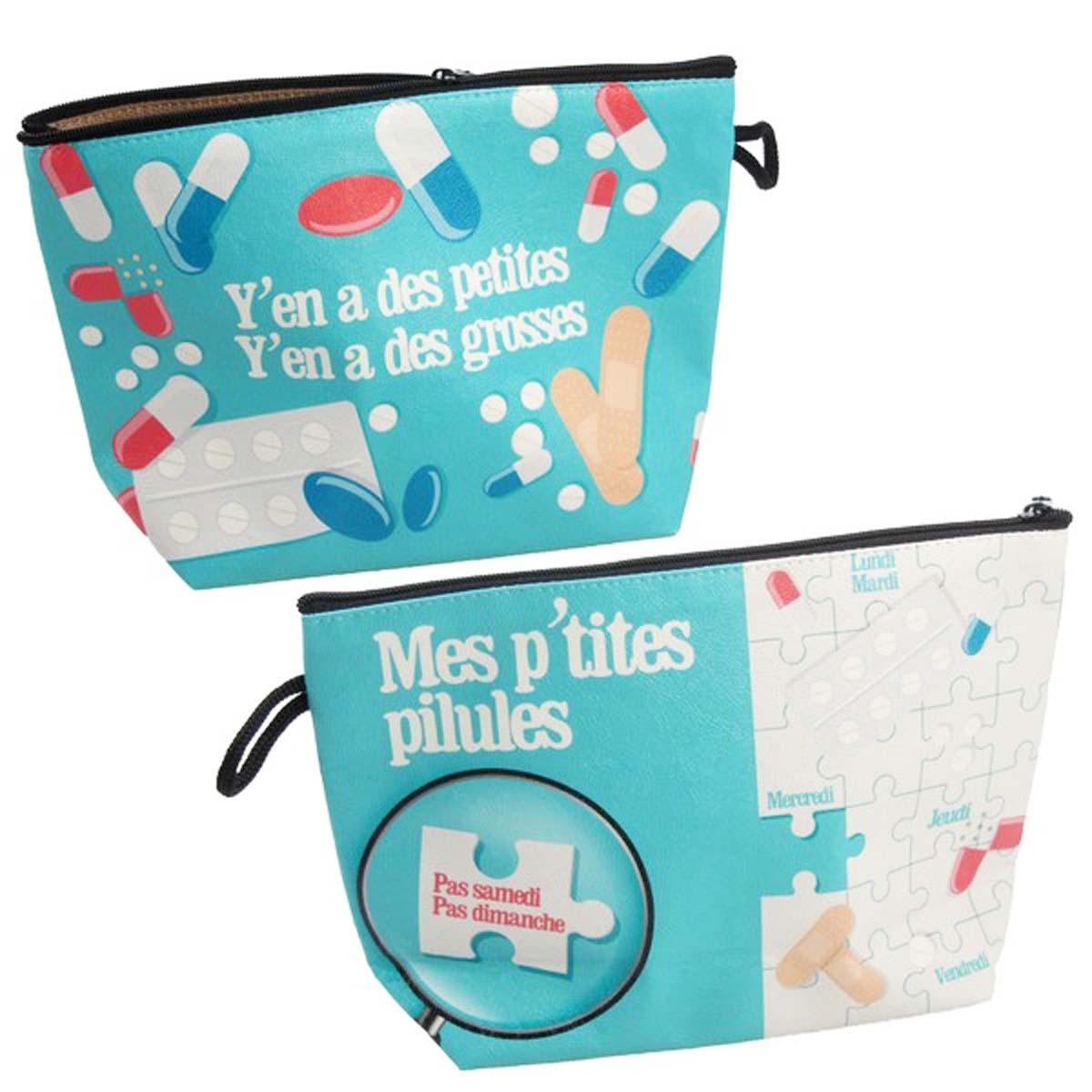 Pochette médicaments \'Mes p\'tites pilules\' bleu - 22x145x7 cm - [A0482]