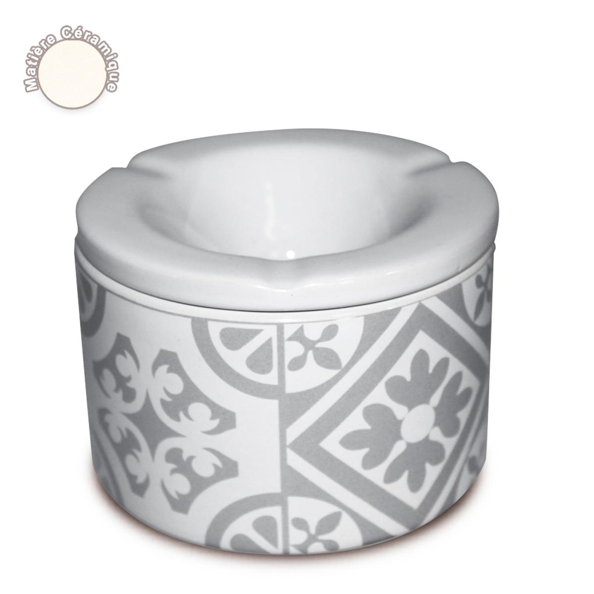 Cendrier marocain céramique \'Carreaux de Ciment\' gris - 10x7 cm - [A0558]