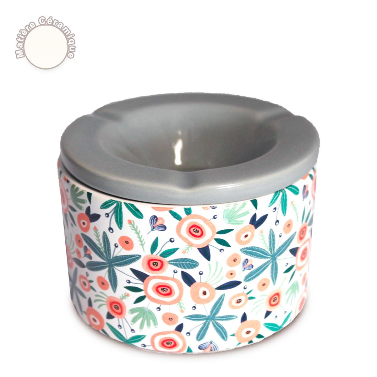 Cendrier marocain céramique \'Floral\' multicolore - 10x7 cm - [A0561]