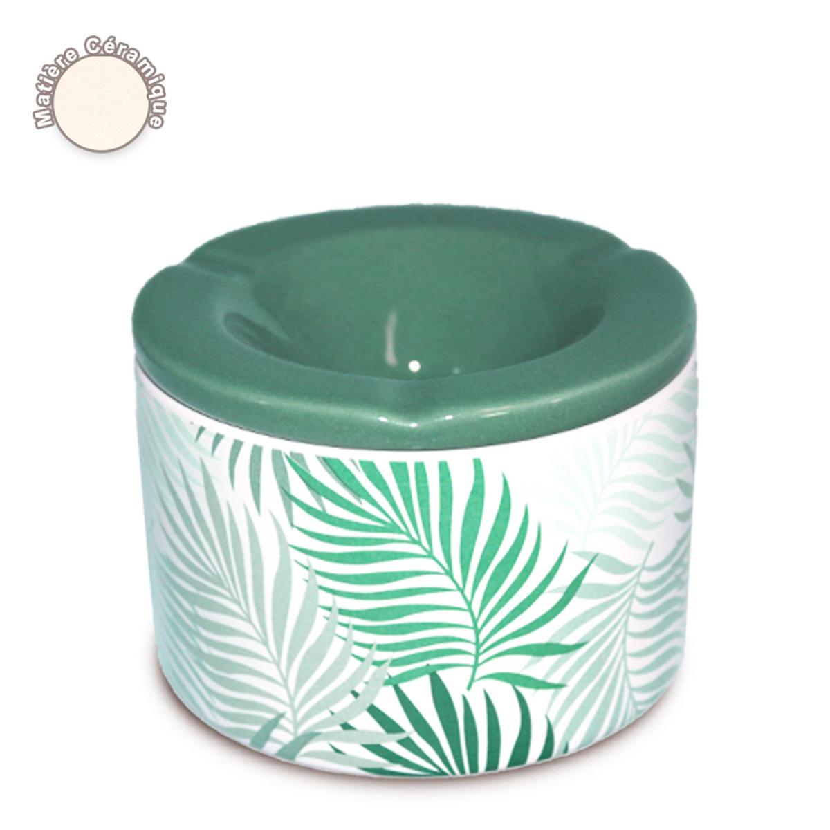Cendrier marocain céramique \'Tropical\' vert - 10x7 cm - [A0563]