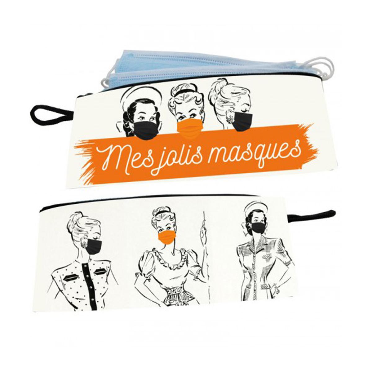 Pochette masques \'Mes Jolis Masques\' - 21x10 cm - [A0623]