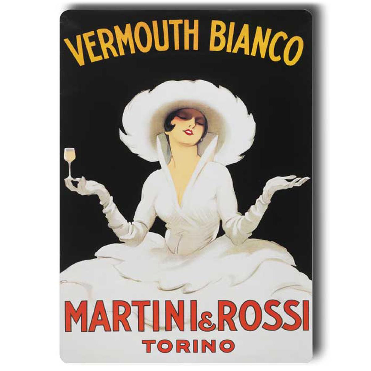 Magnet métal rétro \'Vermouth Bianco Martini Rossi\' - 9x65 cm - [A0632]