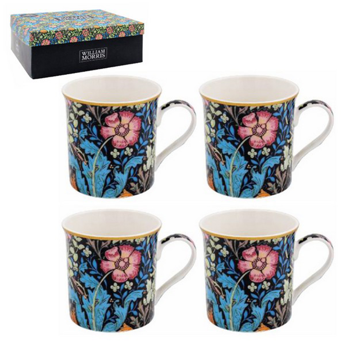 Coffret cadeau \'William Morris Collection\' bleu rose - Compton (4 mugs) - 85x85 mm - [A0734]