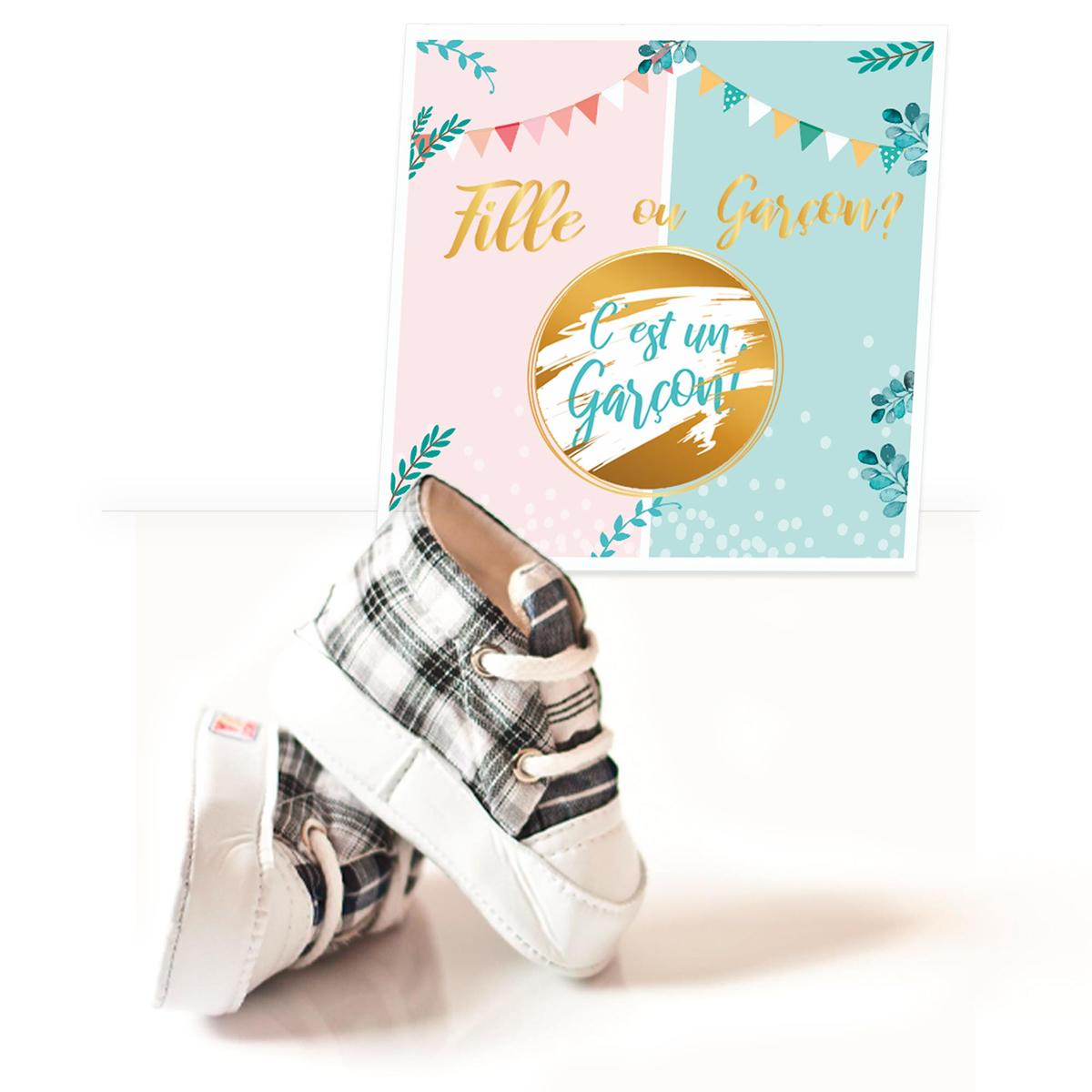 Set de 6 cartes à gratter \'Baby Shower\' (c\'est un garçon !) - 14x14 cm - [A0753]