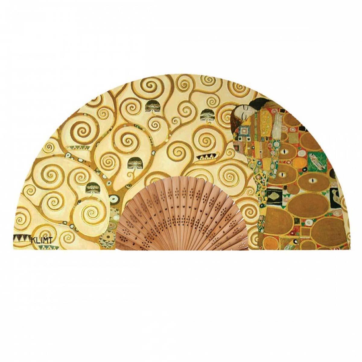 Eventail créateur \'Gustav Klimt\' (Arbre de vie) - ouvert 37x21 cm - [A0861]