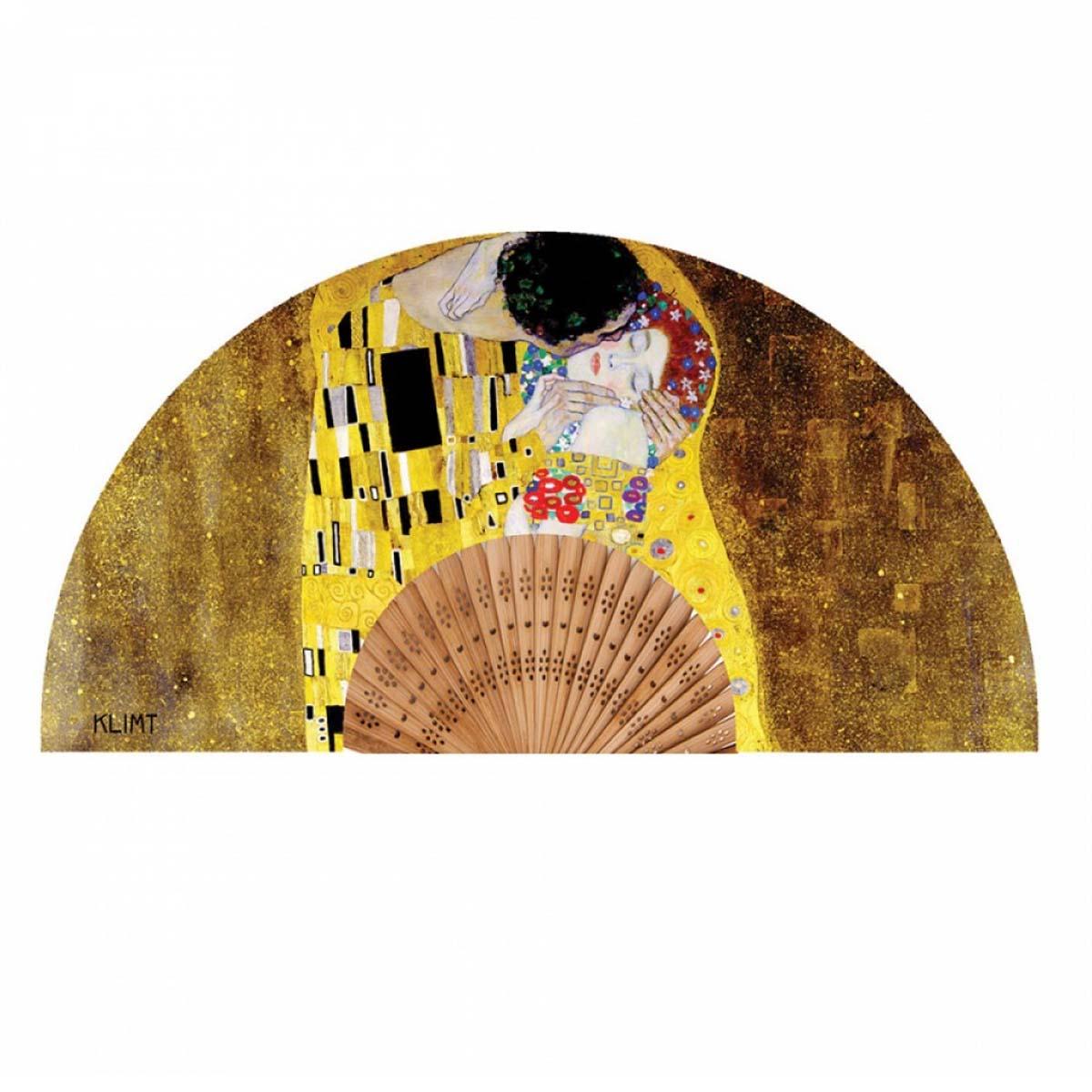 Eventail créateur \'Gustav Klimt\' (le Baiser) - ouvert 37x21 cm - [A0862]