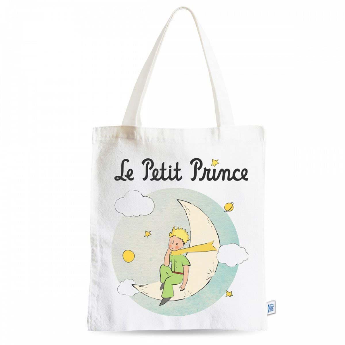 Sac coton / tote bag \'Le Petit Prince\' blanc bleu - 44x38 cm - [A0868]