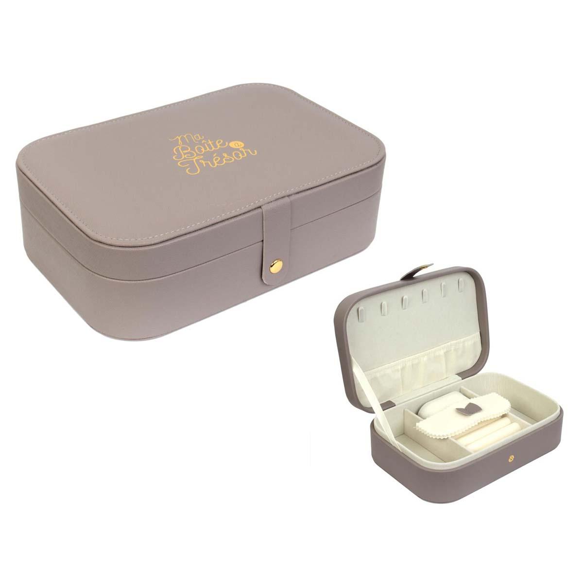 Coffret à bijoux \'Ma Boîte à Trésor\' taupe - 22x15x7 cm - [A0891]