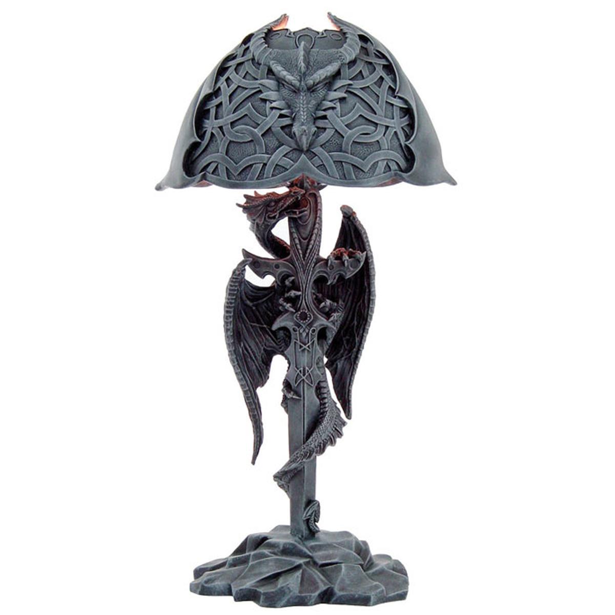 Lampe Déco résine \'Dragon Mystique\' gris - 53x22 cm - [A0940]
