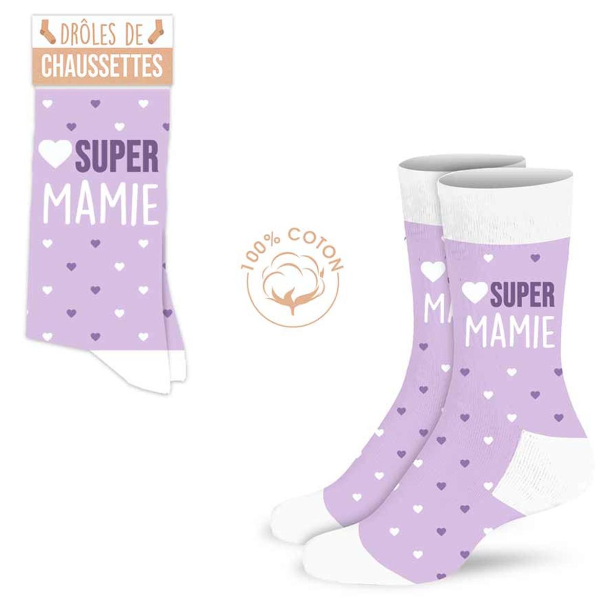 Chaussettes coton tendresse \'Super Mamie\' mauve - taille unique - [A0987]