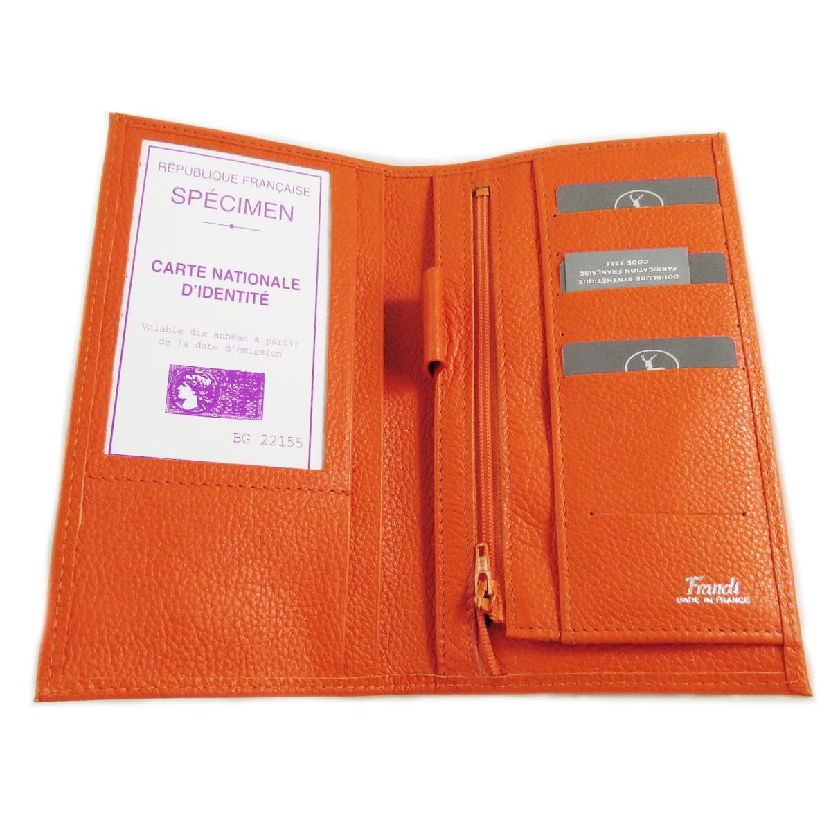 Porte-chéquier Cuir \'Frandi\' orange grainé - 18x11 cm - [A1057]