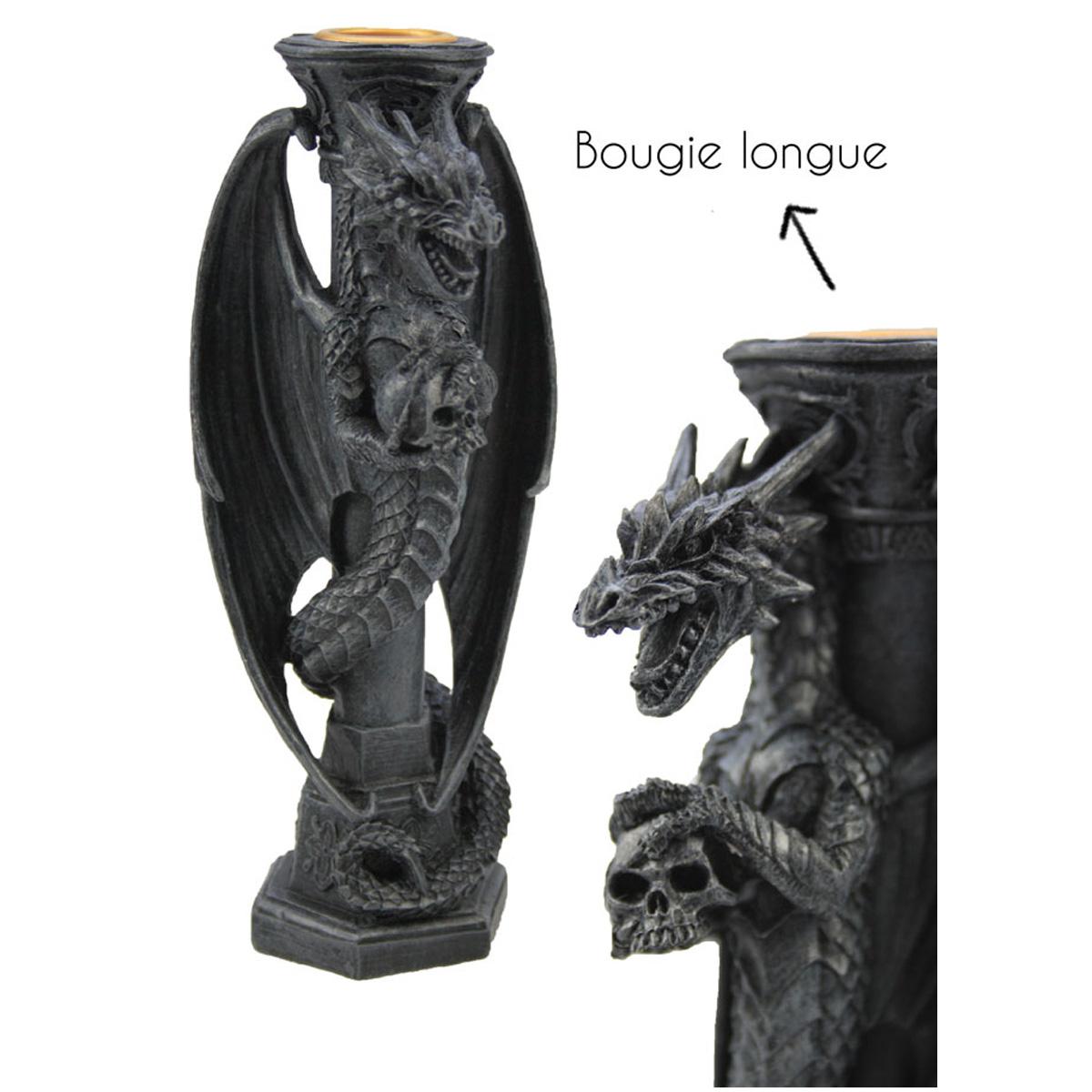 Bougeoir résine \'Dragon Mystique\' gris - 16 cm - [A1063]