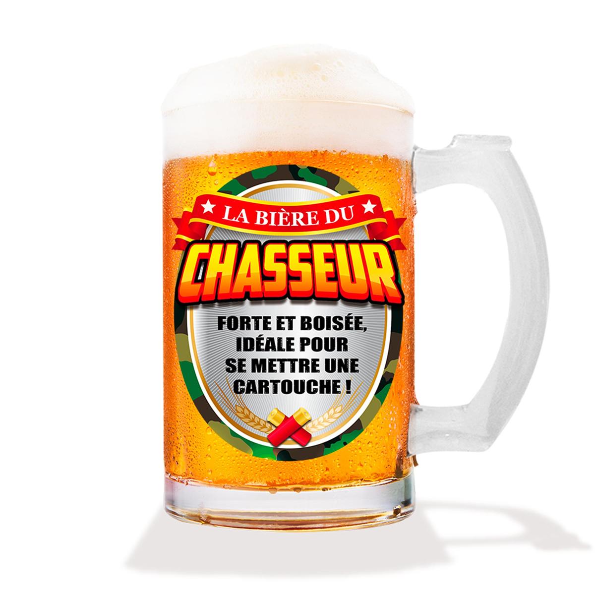 Chope à bière humoristique \'Chasseur\' (verre) - 15 cm (50 cl) - [A1067]