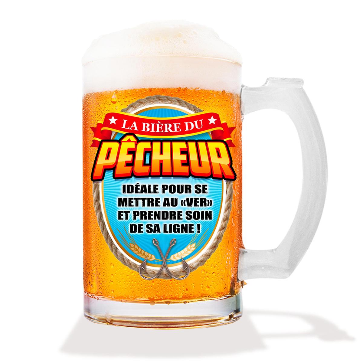 Chope à bière humoristique \'Pêcheur\' (verre) - 15 cm (50 cl) - [A1068]