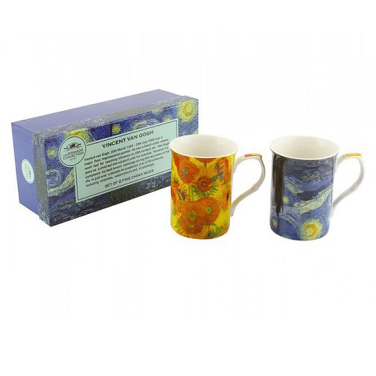 Coffret cadeau porcelaine \'Vincent Van Gogh\' (2 mugs) - 100x75 mm (tournesols, nuit étoilée) - [A1254]