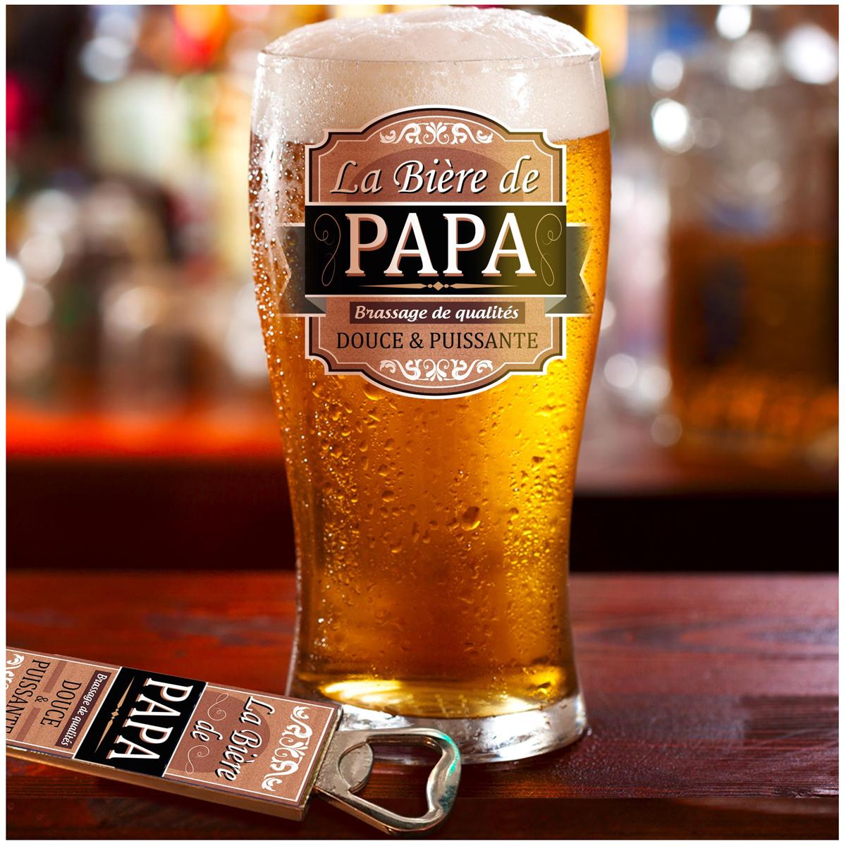 Coffret verre à bière et décapsuleur \'Papa\' - 19x15x9 cm - [A1259]
