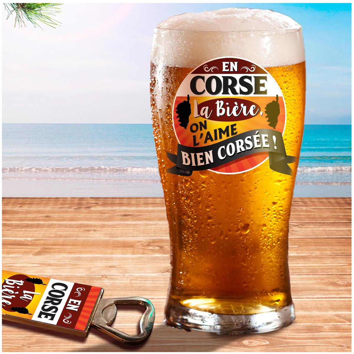 Coffret verre à bière et décapsuleur \'Corsica\' - 19x15x9 cm (En Corse, la bière on l\'aime bien corsée !) - [A1260]