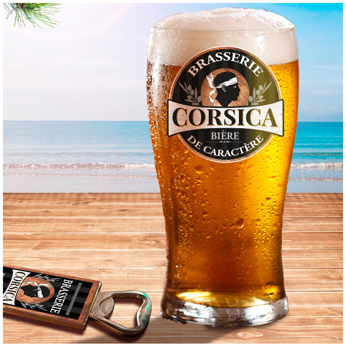 Coffret verre à bière et décapsuleur \'Corsica\' - 19x15x9 cm (Brasserie Corsica, bière de caractère) - [A1261]
