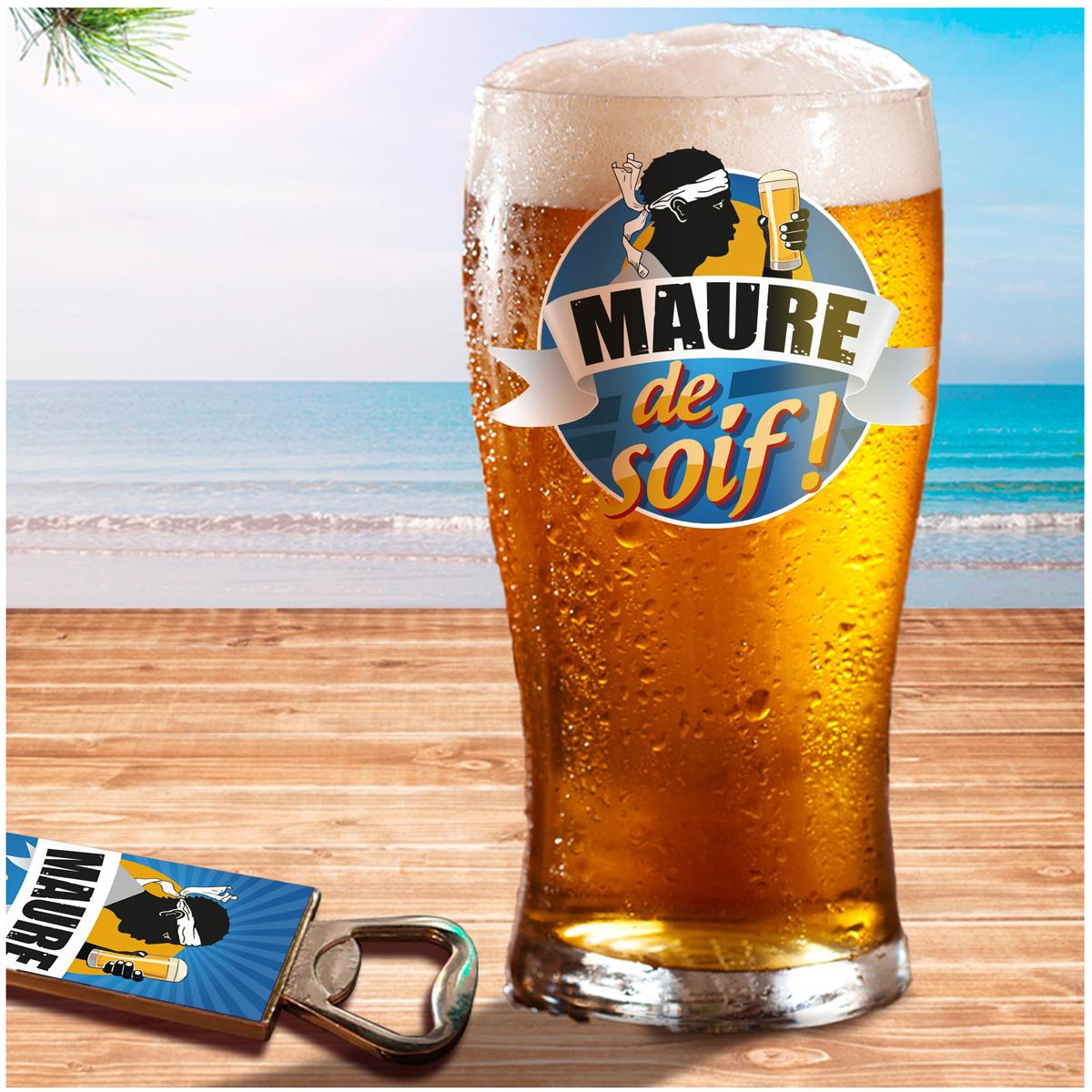 Coffret verre à bière et décapsuleur \'Corsica\' - 19x15x9 cm (Maure de Soif !) - [A1262]