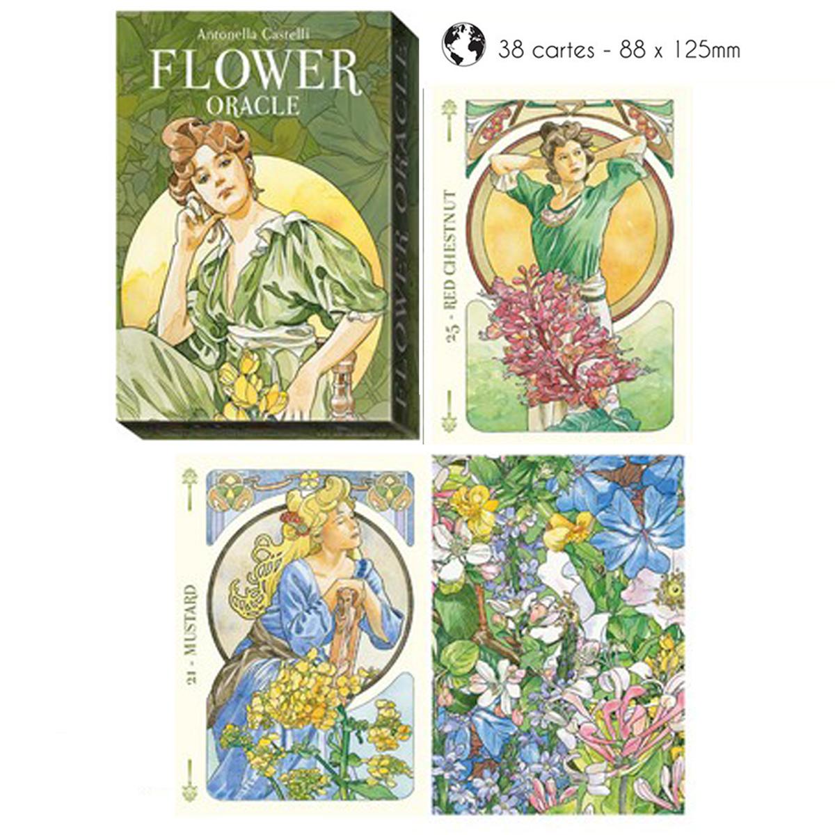 Jeu de cartes \'Flowers Oracle\' vert - 125x88 cm - [A1279]