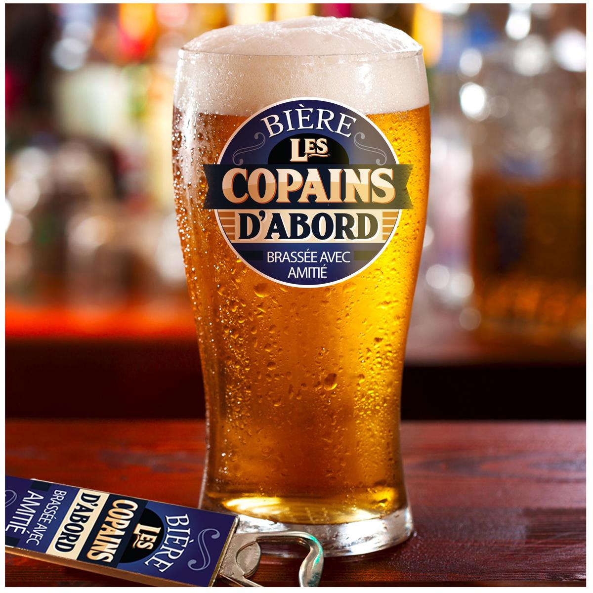 Coffret verre à bière et décapsuleur \'Les Copains d\'Abord\' - 19x15x9 cm - [A1351]