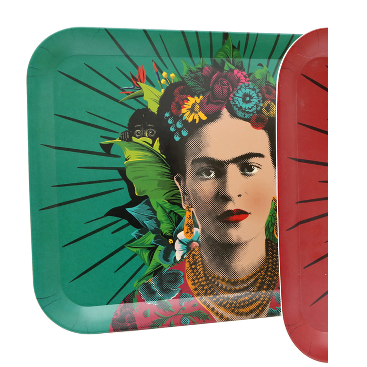 Grand plateau bambou \'Frida Kahlo\' vert - 43x32 cm - [A1402]