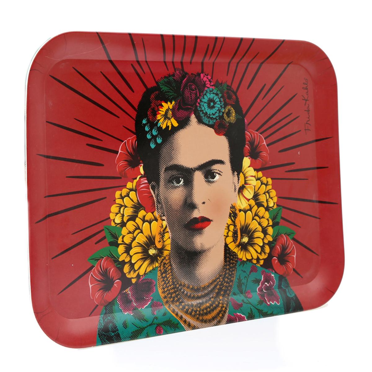 Grand plateau bambou \'Frida Kahlo\' rose - 43x32 cm - [A1403]