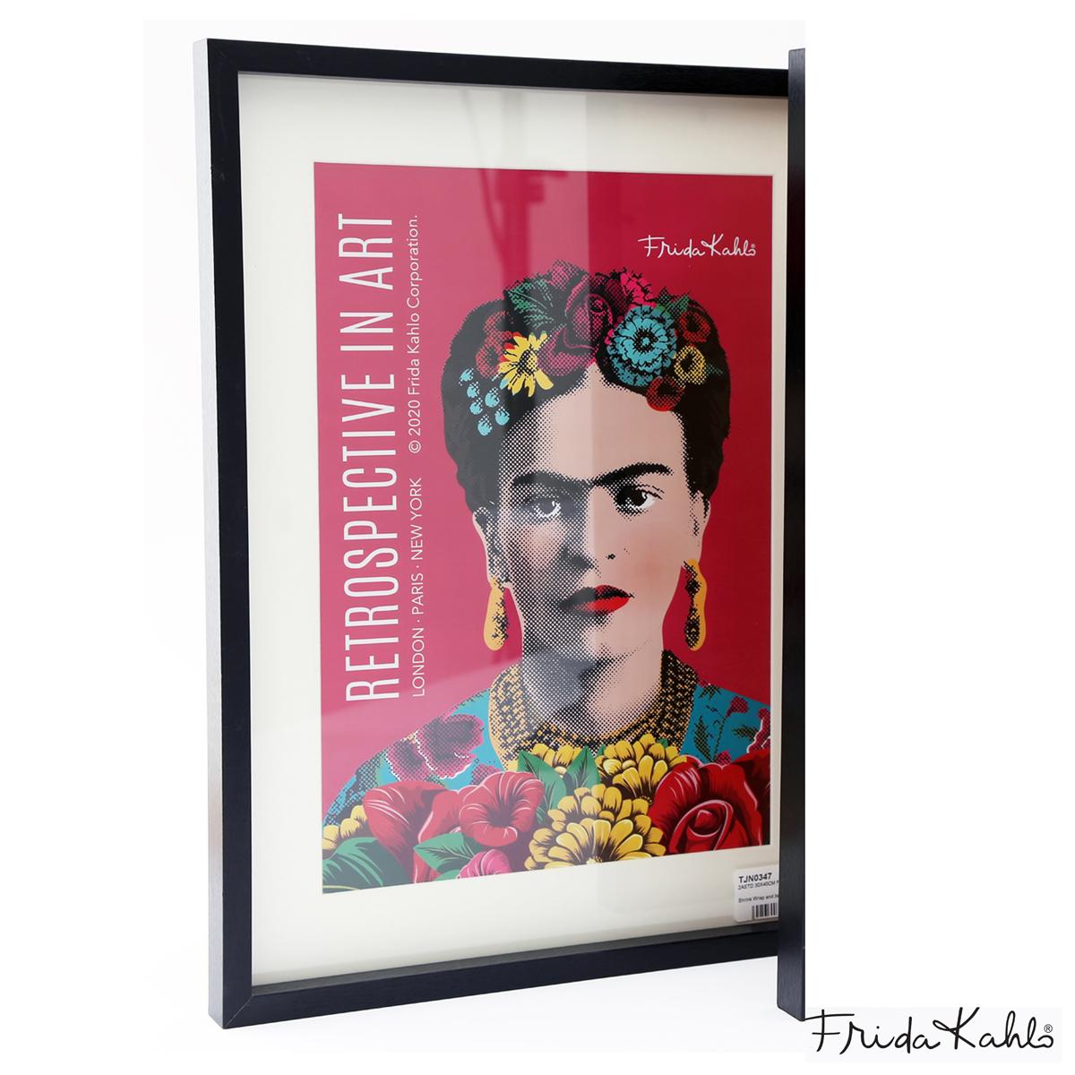 Cadre Tableau \'Frida Kahlo\' rose - 40x30 cm - [A1405]