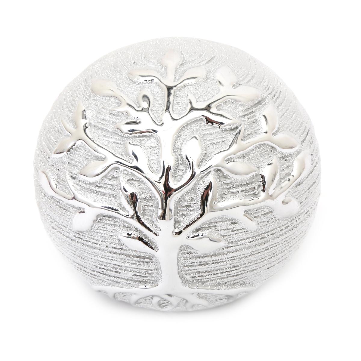 Boule déco céramique \'Arbre de Vie\' argenté - 10 cm - [A1416]