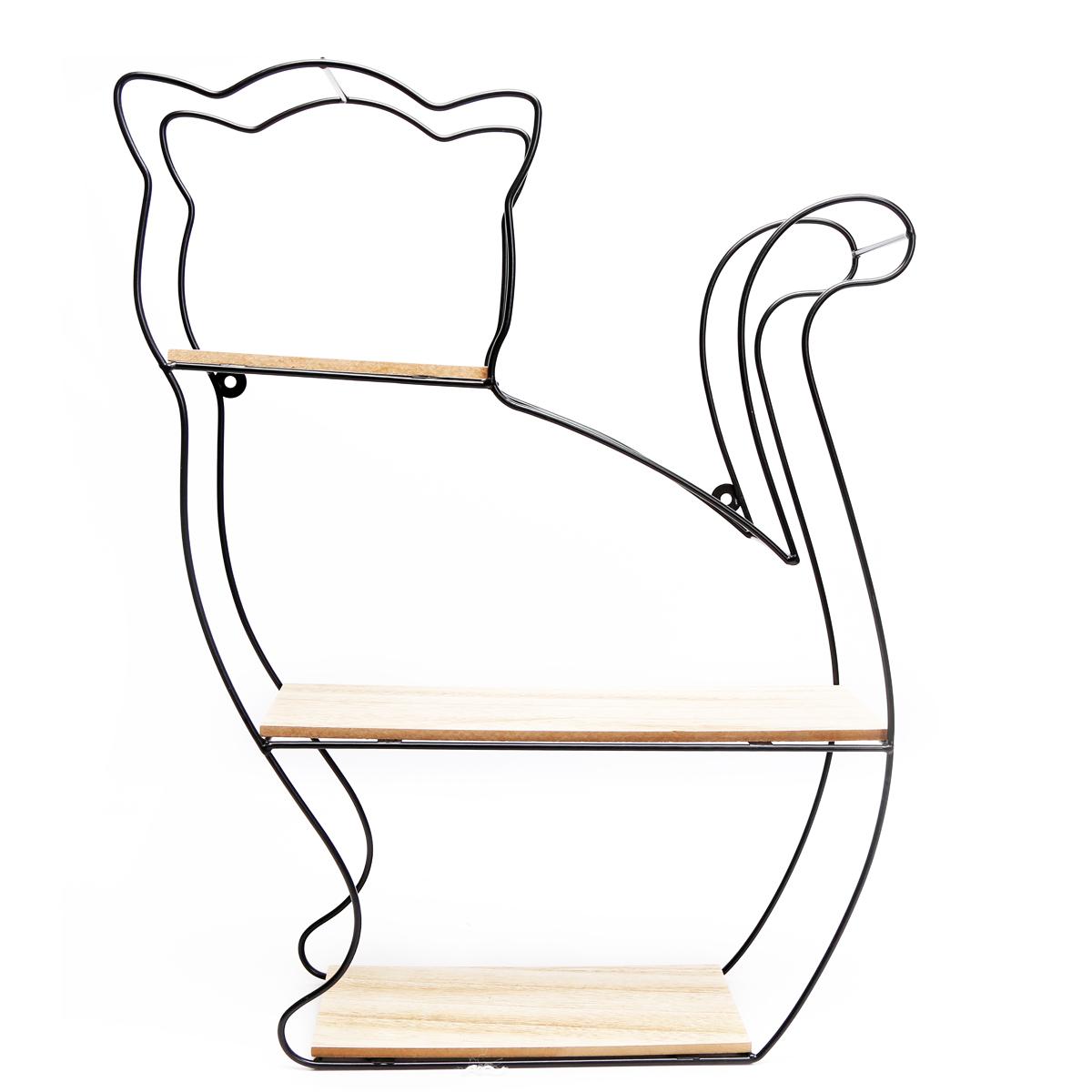 Etagère design métal bois \'Chat\' - 50x40x10 cm - [A1430]