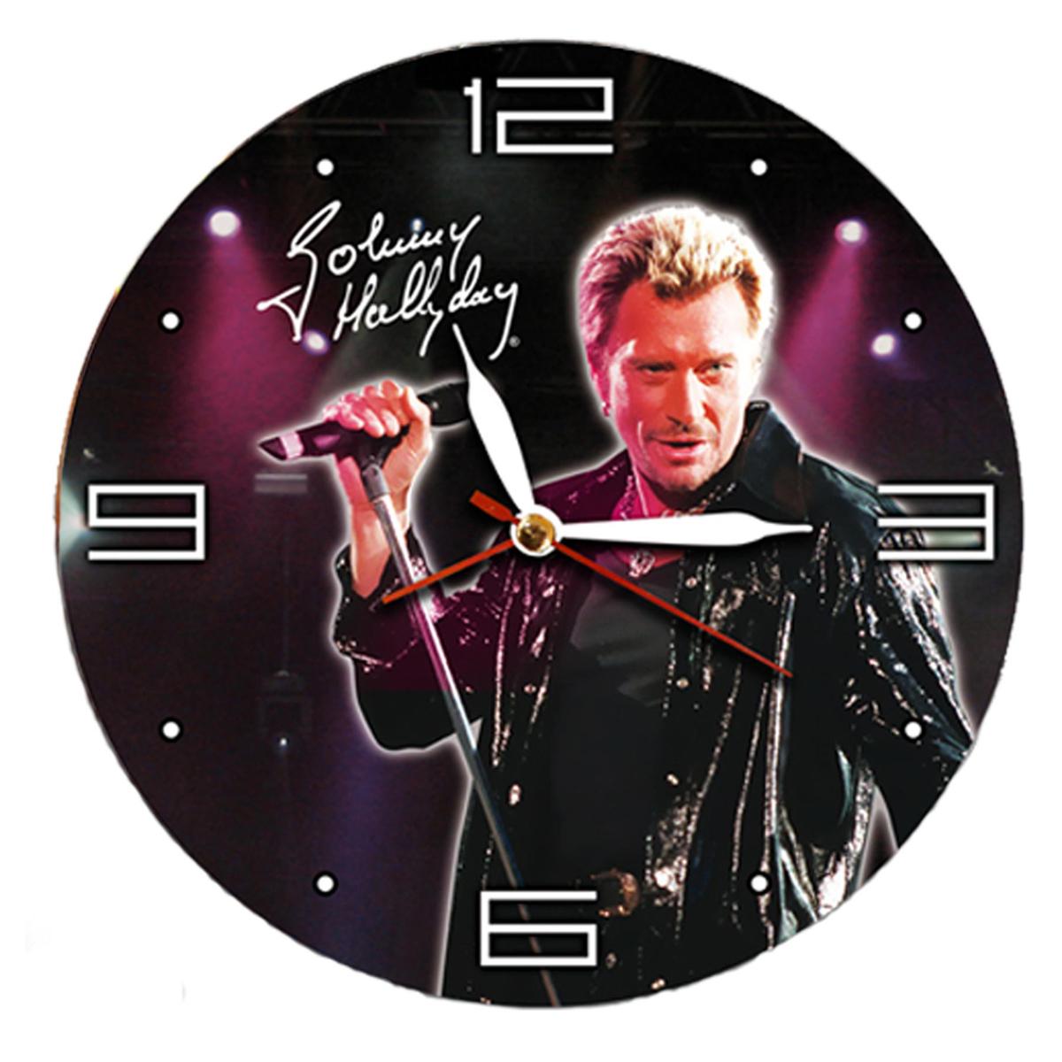 Horloge Murale \'Johnny Hallyday\' noir bordeaux - 38 cm - [H1542]